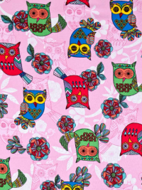 "Timeless Treasures ""Owl"" Flannel # CF5562-Pink - Owls on Pink THUMBNAIL"