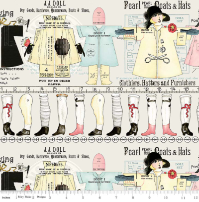 "Riley Blake ""Paperdoll"" # C7567-OFF WHITE - Paperdoll Stripe MAIN"