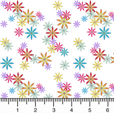 "QT Fabrics ""Party Like a Unicorn"" # 1649-26914-Z – Colorful Flowers on White MAIN"