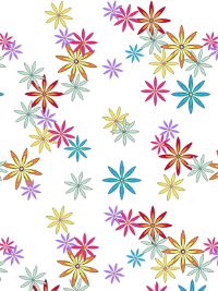"QT Fabrics ""Party Like a Unicorn"" # 1649-26914-Z – Colorful Flowers on White THUMBNAIL"