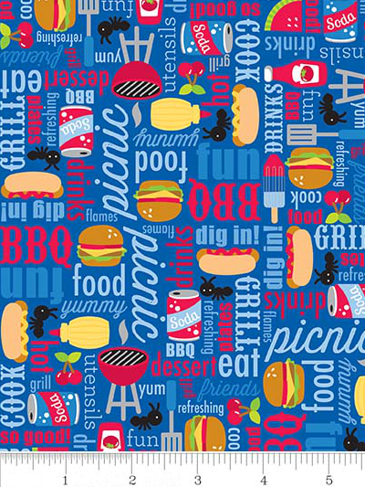 "Riley Blake ""Patriotic Picnic"" # C8000-BLUE - Picnic Items on Blue MAIN"