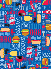 "Riley Blake ""Patriotic Picnic"" # C8000-BLUE - Picnic Items on Blue THUMBNAIL"