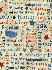 "Northcott ""Stars and Stripes VIII"" # 23461-12 col. Cream — Patriotic Words THUMBNAIL"