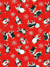 "Studio E ""Polar Bear Pirouette"" # 3827-88 - Penguins on Red THUMBNAIL"