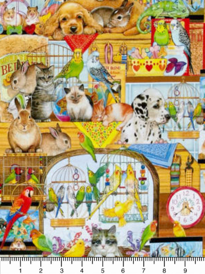 "Robert Kaufman ""Whiskers & Tails"" Digital Print # AOS-17174-195 BRIGHT - Pet Shop MAIN"