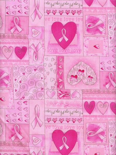 "Timeless Treasures ""Gail"" #C1766 col. pink — Breast Cancer Pink Ribbon Print MAIN"