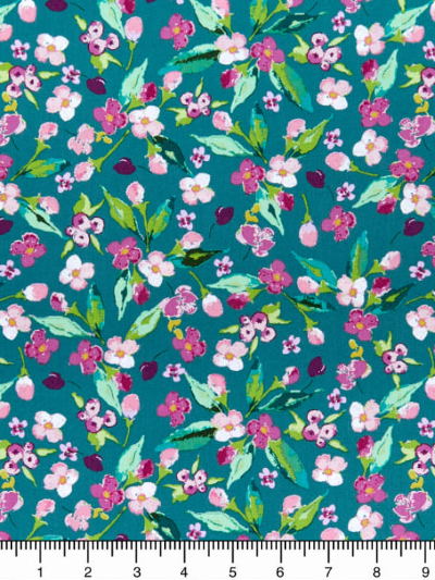 "Riley Blake ""Hampton Garden"" # C9441-Teal - Pink and Purple Flowers on Teal MAIN"