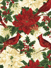 "Timeless Treasures ""Holiday"" # CM4280-Cream - Poinsettias and Cardinals THUMBNAIL"