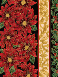 "Robert Kaufman ""Holiday Flourish Metallic 12"" # APTM-18339-2-Black - Poinsettia Christmas Stripes THUMBNAIL"
