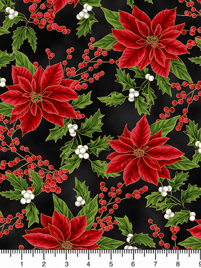 "Hoffman ""Holiday Decadence"" # S7703-4G-Black/Gold - Poinsettias on Black MAIN"