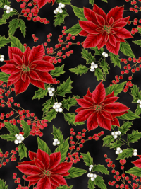 "Hoffman ""Holiday Decadence"" # S7703-4G-Black/Gold - Poinsettias on Black THUMBNAIL"