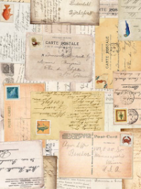 "QT Fabrics ""Postcards from Paradise"" # 27728-A col. Tan – Vintage Postcards THUMBNAIL"