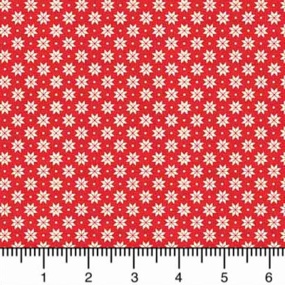 "Makower ""Scandi Basics"" # 1789-R - Small White Poinsettia Shapes on Red MAIN"