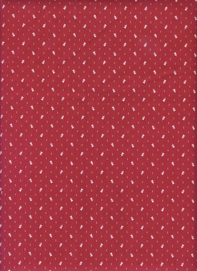 "Andover Fabrics ""Little Sweethearts"" #5926 col. R — Red with Tiny White Heart Flowers MAIN"