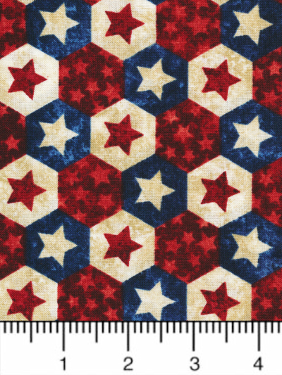 "Northcott ""Stars and Stripes VII"" # 22781-49 col. Navy Multi — Red, Cream and Navy Hexagons MAIN"