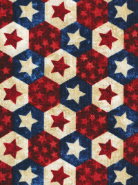 "Northcott ""Stars and Stripes VII"" # 22781-49 col. Navy Multi — Red, Cream and Navy Hexagons THUMBNAIL"