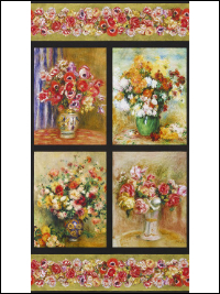 "Robert Kaufman ""Renoir"" # SRKD-17875-268 NATURE - Flowers in Vases - PRICED PER PANEL THUMBNAIL"