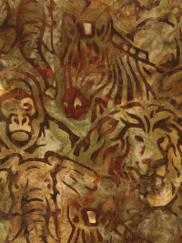 "Robert Kaufman ""Kalahari-6"" Batik # AMD-16091-267-Adventure — Safari Animals THUMBNAIL"