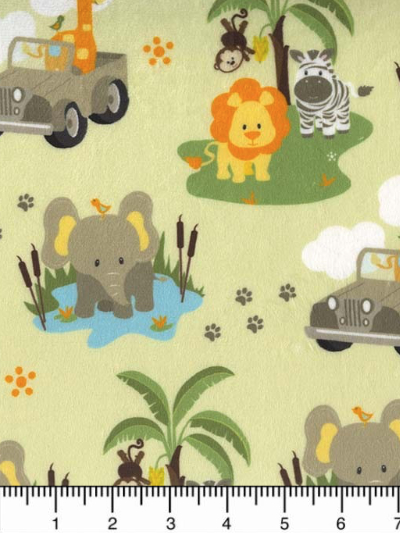 "Michael Miller # SMZ7686-GREE-D - Safari Jeep ""minky like"" MAIN"