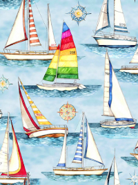 "QT Fabrics ""Smooth Sailing"" # 1649-27159-B-Light Blue - Sailboats and Compasses THUMBNAIL"