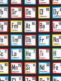"Robert Kaufman ""Science Fair"" # AIB-14736-205 col. MULTI – Table of Elements THUMBNAIL"