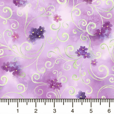 "QT Fabrics ""Hydrangea Blossoms"" # 1649-27530-L-Lavender - Scroll and Floral MAIN"