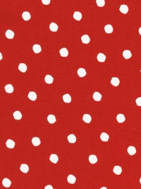 "Robert Kaufman ""Celebrate Seuss 2"" # 12778-99-CHERRY - White Dots on Red THUMBNAIL"