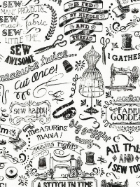 "Timeless Treasures ""Fabric Goddess"" # GAIL-C3417-White - Sewing Words THUMBNAIL"