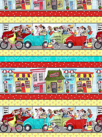 "QT Fabrics ""It's a Shop Hop"" # 1649-27553-X-Multi - Shop Hop Decorative Stripe MAIN"