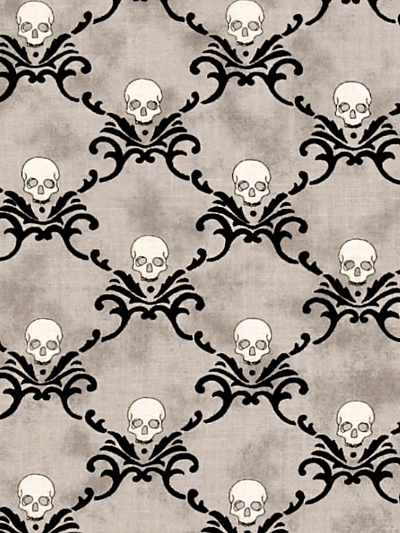"Moda ""Eerily Elegant"" # 19814-15 - Skulls on Gray MAIN"