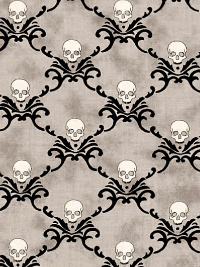 "Moda ""Eerily Elegant"" # 19814-15 - Skulls on Gray THUMBNAIL"