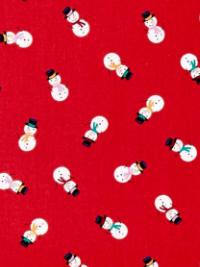 "Makower ""Jolly Santa"" # 1954-R - Snowmen on Red THUMBNAIL"