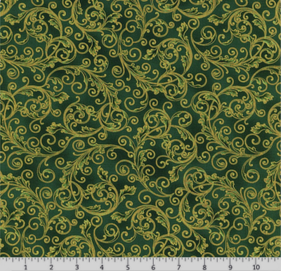 "Robert Kaufman ""Holiday Flourish"" -13 #SRKM- 19255-7 Green MAIN"