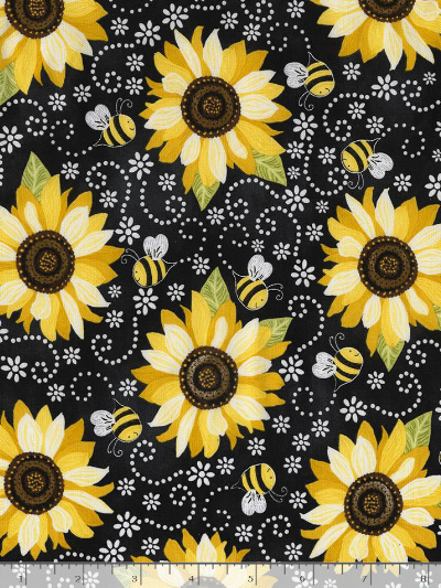 "Timeless Treasures ""Hello Sunshine"" GAIL-C5345 BLACK – Sunflowers and Bees MAIN"