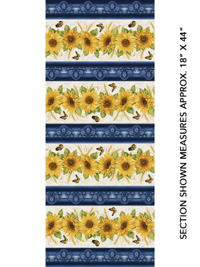 "Benartex ""Accent On Sunflowers"" 10212-55 – Sunflowers and Blue Stripes MAIN"