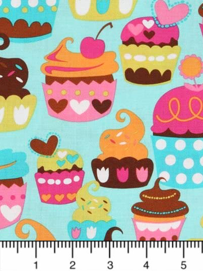 "Michael Miller ""Sweet Treats"" # CX4618-Turq-D - Cupcakes on Turquoise MAIN"