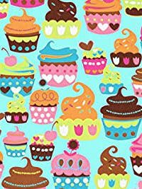 "Michael Miller ""Sweet Treats"" # CX4618-Turq-D - Cupcakes on Turquoise THUMBNAIL"