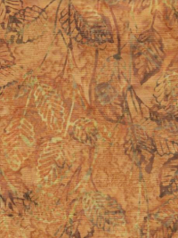 "Robert Kaufman ""Inspired by Nature"" Batik # SRK-19177-138 Honey — Leaves on Honey THUMBNAIL"