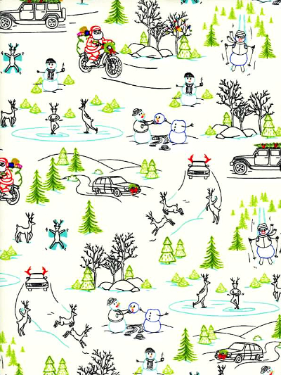 "Ink & Arrow Fabrics ""Naughty or Nice?"" # 1649-24606-E – Wacky Winter Wonderland MAIN"