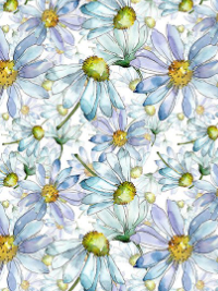 "In The Beginning Fabrics ""The Leah Collection"" # 6TLC-1 — Blue and Purple Watercolor Daisies THUMBNAIL"