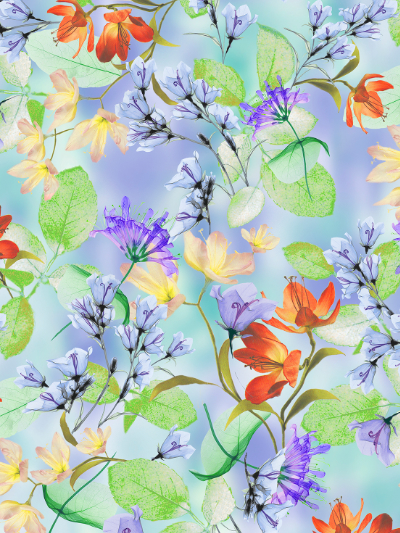 "QT Fabrics ""Belle"" # 1649-26417-W-PERIWINKLE - Watercolor Floral MAIN"