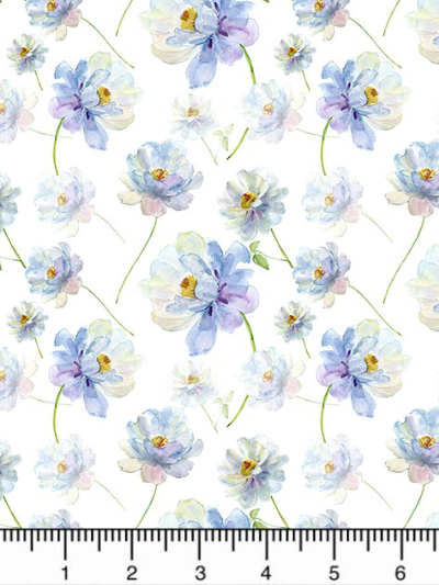 "In The Beginning Fabrics ""The Leah Collection"" # 11TLC-1 — Blue and Purple Watercolor Flowers MAIN"