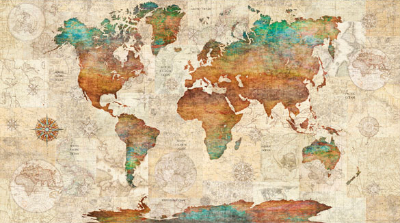 "QT Fabrics ""Wanderlust"" # 1649-26726-X MULTI - World Map Panel MAIN"