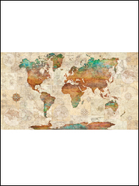 "QT Fabrics ""Wanderlust"" # 1649-26726-X MULTI - World Map Panel THUMBNAIL"