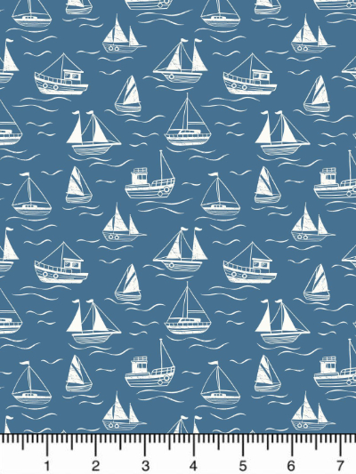 "Lewis & Irene ""Thalassophile"" # A467.3 col. Dark Blue — White Boats MAIN"
