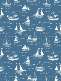 "Lewis & Irene ""Thalassophile"" # A467.3 col. Dark Blue — White Boats THUMBNAIL"