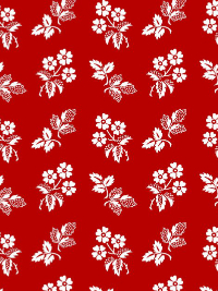 "Henry Glass ""Redwork Revival"" # 8363-88 - White Flowers and Leaves on Red THUMBNAIL"