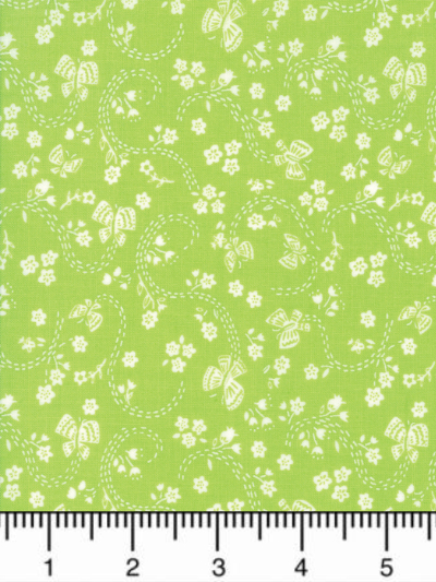 "Moda ""Sunday Picnic"" # 20677-21 - White Flowers and Butterflies on Bright Green MAIN"