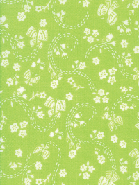 "Moda ""Sunday Picnic"" # 20677-21 - White Flowers and Butterflies on Bright Green THUMBNAIL"