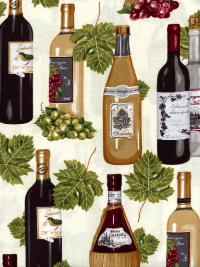 Robert Kaufman Vineyard Collection #AMK-13567-15 Ivory - Wine Bottles and Grapes THUMBNAIL